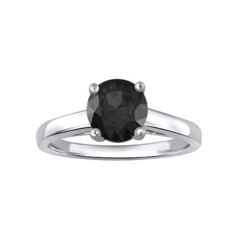 Divina Sterling Silver 1ct TDW Black Diamond Engagement Ring