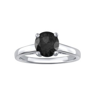 Divina Sterling Silver 1ct TDW Black Diamond Engagement Ring