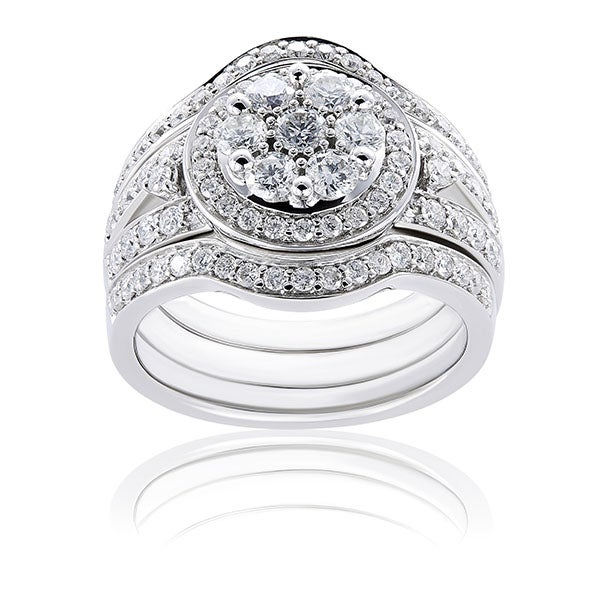 Annello 14k Gold 1 1/5ct TDW Diamond Halo 3-Piece Bridal Rings Set (G-H, I1-I2)