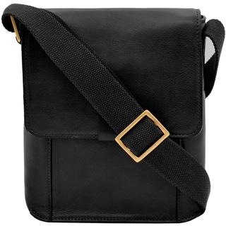 Hidesign Aiden Black/Beige/Brown Leather Medium Vertical Messenger Bag