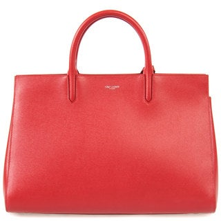 Yves Saint Laurent Cabas Rive Medium Red w/Silver Hardware Gauche Satchel Handbag
