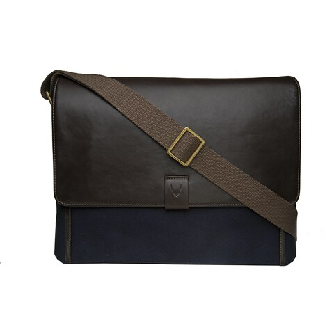 Hidesign Aiden Blue Canvas Lambskin Leather Laptop Messenger Bag