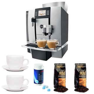 GIGA W3 Professional Coffee Center + 3-Ounce Cup & Saucer Set (Set of 2) + Jura Cleaning Tablets + Espresso Beans, Aluminum