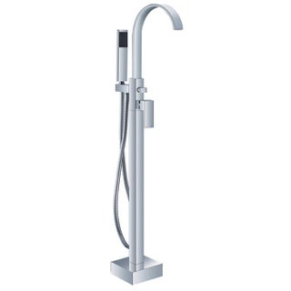 HelixBath Snoqualmie Gooseneck Freestanding Chrome Tub Faucet with Hand Shower
