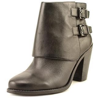 Jessica Simpson Women's 'Cainn' Black Leather Mid-heel Boots