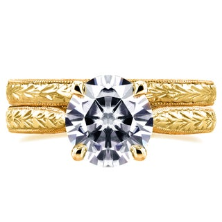 Annello by Kobelli 14k Yellow Gold Forever One 1 1/2ct TGW Moissanite and Diamond Antique Cathedral Bridal Rings Set