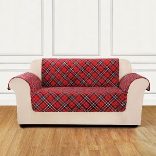 Sure Fit Holiday Tartain Plaid Loveseat Furniture Cover