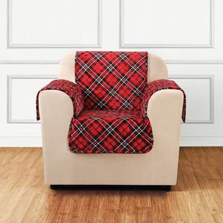 Sure Fit Holiday Tartan Plaid Chair Furniture Cover