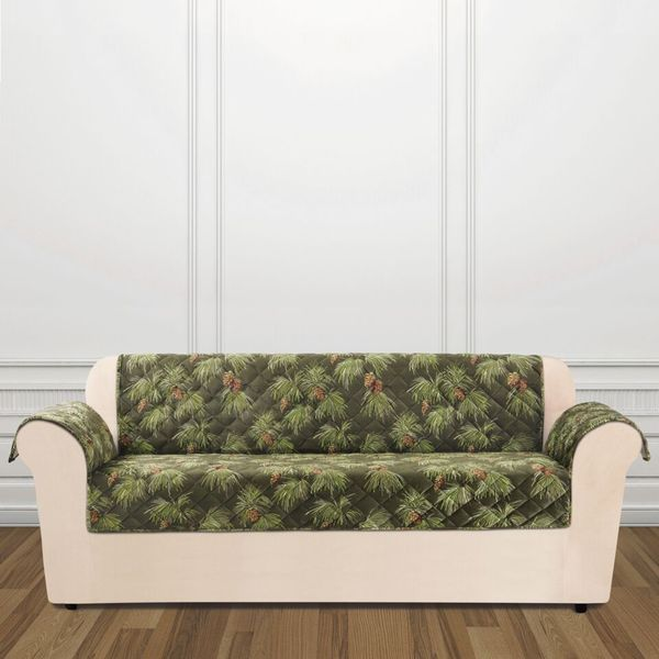 Sure Fit Holiday Pinecone Sofa Furniture Cover   Free Shipping Today    Overstock.com   19686993