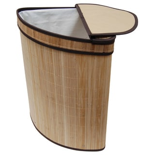 Brown Bamboo With Cotton Liner Corner Folding Laundry Hamper