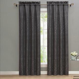 Nikki Chu Alyn Grey Window Curtain Panel Pair