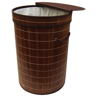 Brown Bamboo Round Folding Bamboo Laundry Hamper with Cotton Removable Lining - 60
