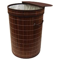 Brown Bamboo Round Folding Bamboo Laundry Hamper with Cotton Removable Lining