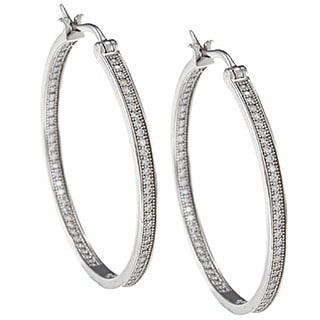 Sterling Silver Rhodium Plated Cubic Zirconia Pave Setting Inside-outside Hoop Earrings