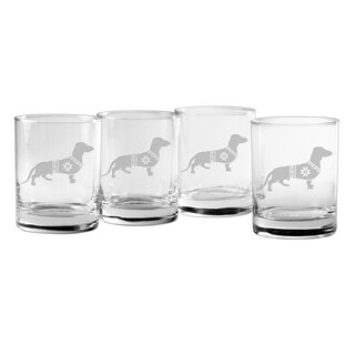 Festive Dachshund Rocks Glass (Set of 4)