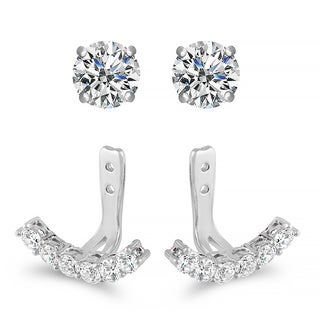 Women's Sterling Silver Cubic Zirconia Jacket Stud Earrings