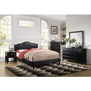 Barton Black Faux Leather Upholstered 5-Piece Bedroom Set