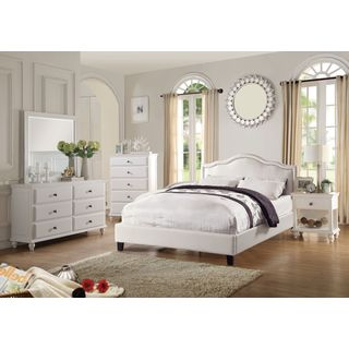 Barton White Faux Leather Upholstered 4-Piece Bedroom Set