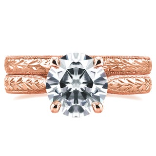 Annello by Kobelli 14k Rose Gold 1 1/2ct TGW Moissanite and Diamond Antique Cathedral Bridal Rings S