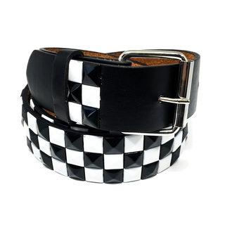 Faddism Unisex Chessboard Studded Leather Belt