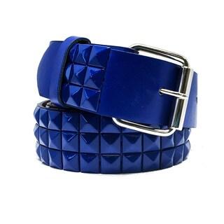 Faddism Unisex Pyramid Leaf Blue and Green Leather Studded Belt