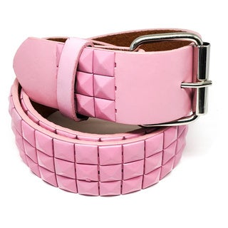 Faddism Poprocks Unisex Pink Leather Pyramid Studded Belt