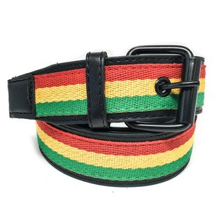 Faddism Unisex 'Rasta' Tricolor Canvas-center Leather Belt