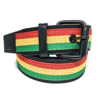 Faddism Unisex 'Rasta' Tricolor Canvas-center Leather Belt|https://ak1.ostkcdn.com/images/products/12948063/P19699033.jpg?impolicy=medium