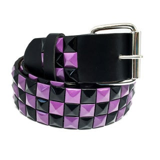 Faddism Unisex Bishop Leather Checker Pyramid-studded Belt