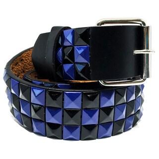 Faddism Unisex Checker Pyramid Studded Leather Belt