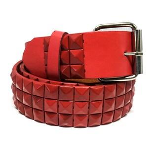 Faddsim Unisex Pyramid Studded Lava Leather Belt