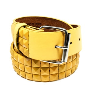 Faddism Unisex Yellow Leather Pyramid Studded Belt