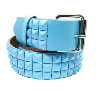 Faddism Unisex Pyramid River Blue Leather Studded Belt