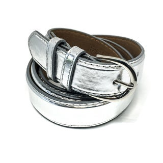 Faddism Women's Darla Leather Double-looped Chrome Buckle Belt