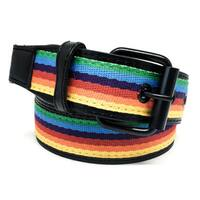 Faddism Unisex 'Wizard' Multicolor Rainbow Canvas-center Leather Belt