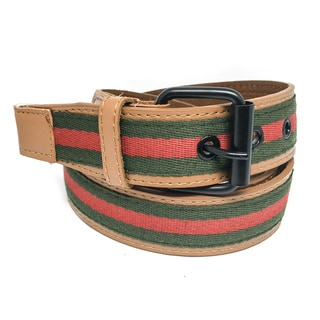 Faddism Unisex Tricolor Canvas and Leather Signis Belt