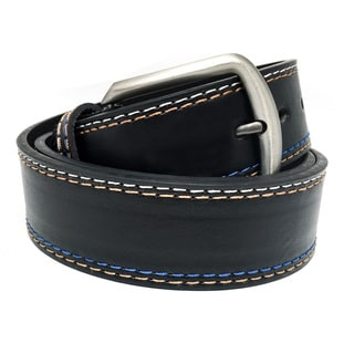Faddism Men's Color Stitched Black Thick Leather Belt With Grey Metal Buckle