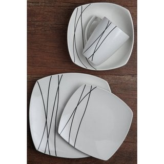 Melange Porcelain Square 16-piece or 32-piece Place Setting