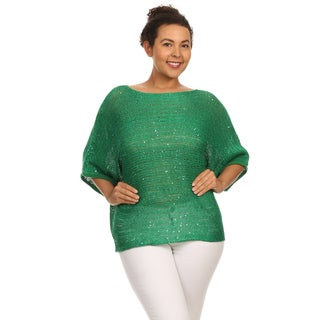 Hadari's Plus Size Sequin Embellished Dolman Top