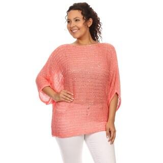 Hadari's Plus Size Sequin Embellished Dolman Top