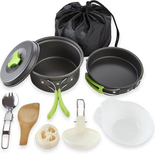 Outdoor Backpacking Camping Cooking Bowl Picnic Pot Pan 10-piece Cookware Set