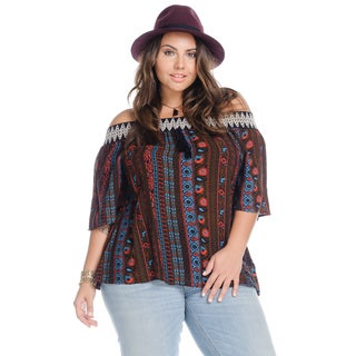 Women's Plus Size Casual Off Shoulder Tops Loose Boho Blouse