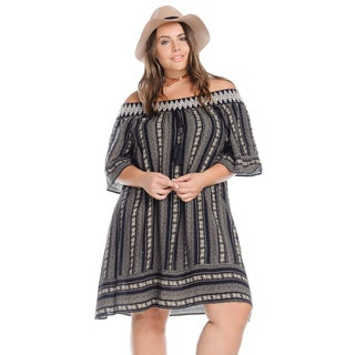 Women's Plus Size Casual Off Shoulder Sexy Boho Dress