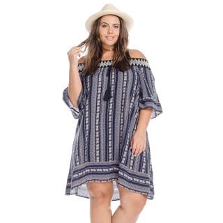 Women's Plus Size Casual Off Shoulder Sexy Boho Mini Dress