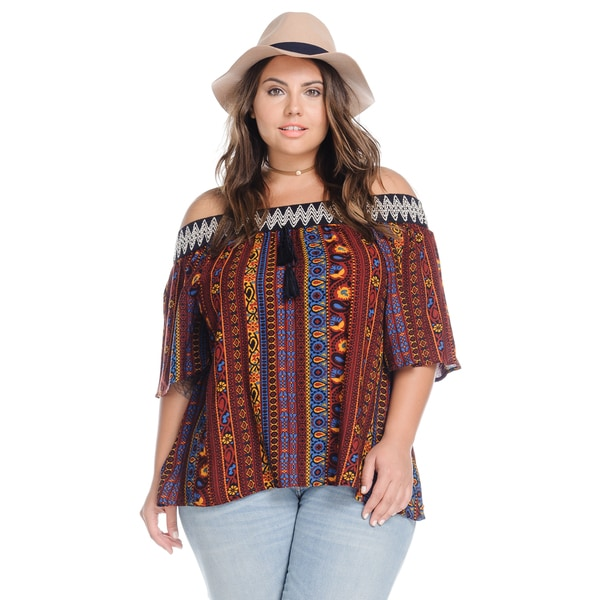 b85ff068e4ed8 Shop Women s Plus Size Casual Off Shoulder Tops Loose Boho Blouse ...