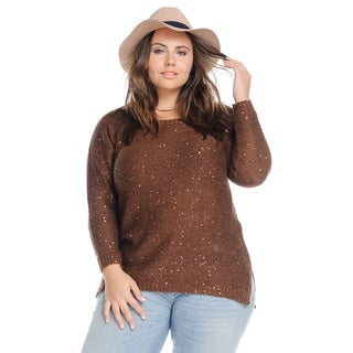 Hadari Women's Plus Size Sequinned Long Sleeve Sparkle Knit Sweater
