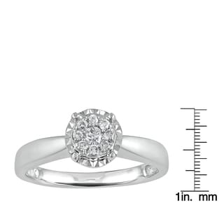 Sterling Silver 1/5ct TDW Diamond Silver Halo Fashion Ring