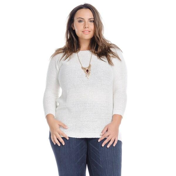 5916f2ef7c76 ... Women's Plus-Size Sweaters. Hadari Women's Cesual Sequin Knit  Sweater