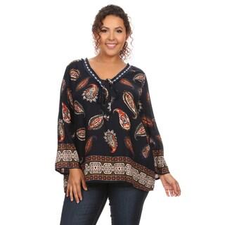 Hadari Women's Plus Size Long Sleeve V-Neck Paisley Printed Blouse