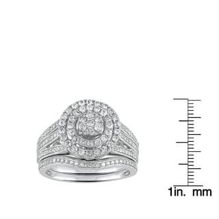 Sterling Silver 1.00ct TDW Diamond Double Frame Cluster Bridal Set (I-J, I2-I3)